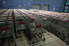 Shopping supermarket trolleys Royalty Free Stock Photos