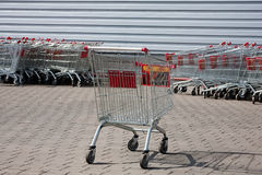 Shopping supermarket trolleys Stock Photo