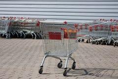 Shopping supermarket trolleys Stock Photo
