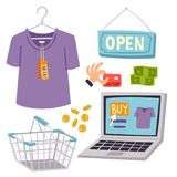 Shopping supermarket vector store shop grocery retro cartoon icons set with customers carts baskets food and commerce. Products illustration. Business market Royalty Free Stock Image