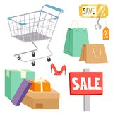 Shopping supermarket vector store shop grocery retro cartoon icons set with customers carts baskets food and commerce. Products illustration. Business market Stock Photos