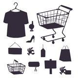 Shopping supermarket vector store shop silhouette grocery retro cartoon icons set with customers carts baskets food and. Commerce products illustration Royalty Free Stock Photo