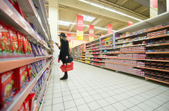 Shopping in a supermarket Royalty Free Stock Image
