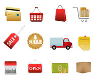 Shopping symbols and icons Stock Images