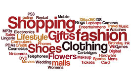 Shopping Tag Cloud. Tag cloud with shopping theme Royalty Free Stock Photography