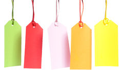 Shopping tags. Five blank color shopping tags over white background Royalty Free Stock Photography