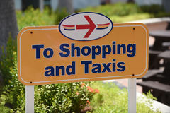 Shopping & Taxi Signage. At the Port of St. Thomas U.S. Virgin Islands stock photos