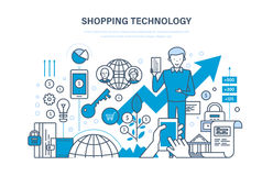 Shopping technology.. Financial security, safety of payments, payment protection, communications, online ordering system of products, technical support Royalty Free Stock Image