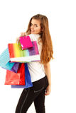 Shopping teen girl smiling with bags Royalty Free Stock Photography