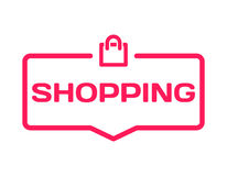 Shopping template dialog bubble in flat style on white background. Basis with bag icon for various word of plot. Vector. Shopping template dialog bubble in flat Royalty Free Stock Image