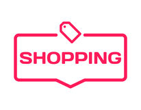Shopping template dialog bubble in flat style on white background. Basis with tag icon for various word of plot. Vector. Shopping template dialog bubble in flat Royalty Free Stock Images