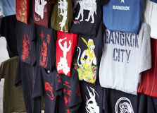 Shopping in thailand. Shirt on road side in bangkok Stock Images