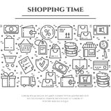 Shopping theme banner with horizontal rectangle consisting of line icons with editable stroke. Stock Photos