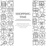 Shopping theme banner with two vertical rectangles consisting of line icons with editable stroke. Royalty Free Stock Photo