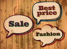 Shopping themed speech bubbles Royalty Free Stock Photography