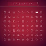 Shopping Thin Icons Set Stock Photo