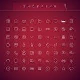 Shopping Thin Icons Set Stock Photo
