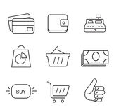 Shopping 9 thin icons set. Royalty Free Stock Photo