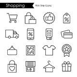 Shopping thin line icons, adjustable stroke Royalty Free Stock Photos