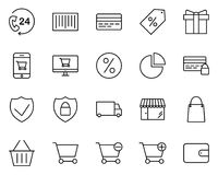 Shopping Thin Line Icons Set. Vector Pictograms stock illustration