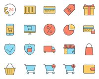 Shopping Thin Line Icons Set. Vector Pictograms vector illustration