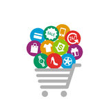 Shopping things on shopping cart Royalty Free Stock Photos