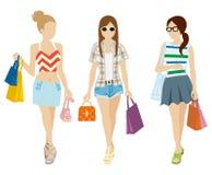 Shopping Three girls - Summer fashion Royalty Free Stock Photo