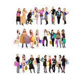 Shopping in three rows Stock Photography