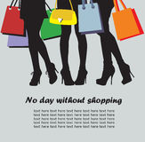 Shopping time. Women and bags, vector image of shopping time Stock Photography