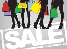 Shopping time. Women and bags, vector image of shopping time Royalty Free Stock Photo