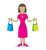 Shopping time. A woman after shopping carries two bags Stock Photo