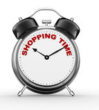 Shopping time. 3d people - man, person with a alarm clock and text Shopping time Royalty Free Stock Photos