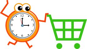 Shopping time. Mr time pushing a shopping trolley isolated on white Royalty Free Stock Photos