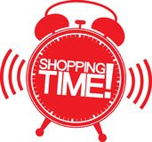 Shopping time alarm clock, vector. Illustration Stock Image