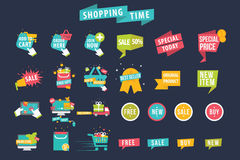 Shopping Time Banner Vector Set Stock Photo