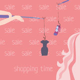 Shopping time. Drawn the girl in the shop chooses buy Royalty Free Stock Images