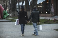 Shopping time on Happy New Year`s Eve Day Stock Photography