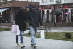 Shopping time on Happy New Year`s Eve Day stock photos