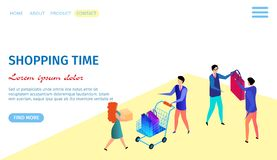 Men and Women Choosing, Buying and Selling Goods. Shopping Time Horizontal Banner with Copy Space. People Purchasing. Men and Women Choosing, Buying and Selling vector illustration