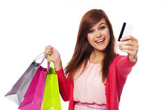 Shopping time. I pay for my shopping by credit card Stock Photo