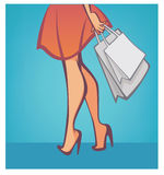 Shopping time. Legs and bags, vector shopping and fashion background Royalty Free Stock Photo
