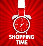 Shopping time poster design with alarm clock. Illustration of Shopping time poster design with alarm clock Stock Photo