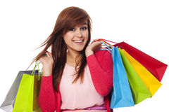 Shopping time. Smiling woman holding shopping bags Royalty Free Stock Photos