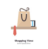 Shopping time. Vector Illustration. Icon delivery of goods from the store. Flat Vector Illustration Stock Image