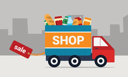 Shopping time. Vector Illustration. Icon delivery of goods from the store. Flat Vector Illustration Stock Images