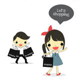 Shopping time. Woman with happy emotion say let's shopping  and man who carry bags full on his hand be tired Stock Image