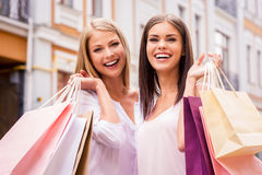 Shopping together is fun. Royalty Free Stock Image