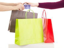 Shopping tour. With colorful bags Royalty Free Stock Photography
