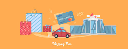 Shopping Tour Concept. Best shopping tour car with paper bags. Shopping bag, shopping mall, store, shopping cart, shopping icon, sale, fashion. Concept in flat Royalty Free Stock Photos