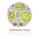 Shopping tour vector icon hand draw cartooning concept. Credit cart, bus, wallet, glasses icons in one round form with Stock Photo